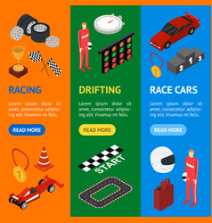 racing sport banner vecrtical set isometric view vector image vector image