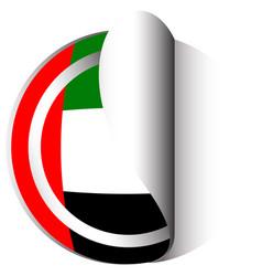 united arab emirates flag on round sticker vector image vector image
