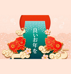 2019 japanese new year sign with pig and flowers vector