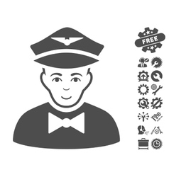 Airline Steward Icon With Tools Bonus vector