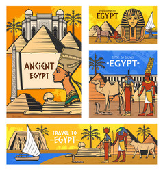 ancient egyptian gods and pyramids egypt travel vector image