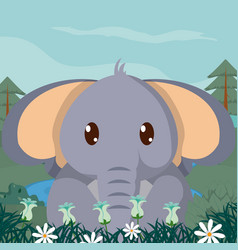 Baby elephant cute animals cartoons vector