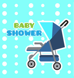 baby shower card with a stroller vector image