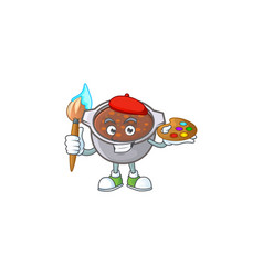 Baked beans in bowl with painter mascot vector
