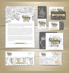 Bakery menu document template corporate identity vector