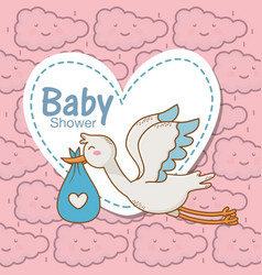 Bashower stork diaper blue heart sticker clouds vector