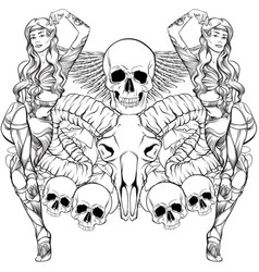 Beautiful elf with ram and human skull wings vector