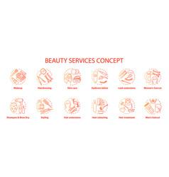 Beauty services concept icons set salon vector