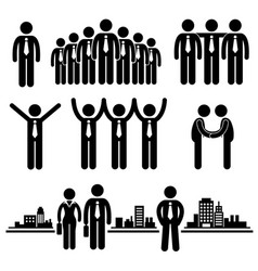 business businessman group worker stick figure vector image