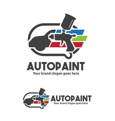 Car paint with spray gun logo template vector
