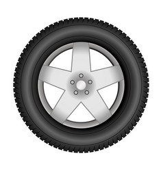 Car tire on an alloy wheel vector