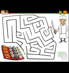 Cartoon maze activity with chef and sushi vector