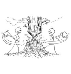 cartoon of two lumberjacks with ax who are vector image