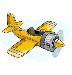cartoon yellow retro airplane toy vector image