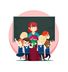 children congratulate teacher on teachers day vector image