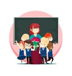 Children congratulate teacher on teachers day vector