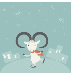 Christmas background with goat vector image
