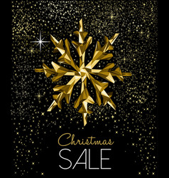 christmas sale card with luxury gold decoration vector image