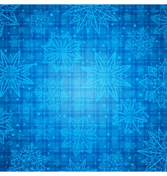 Christmas snowflakes and stars over blue checked vector