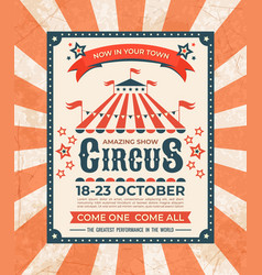Circus poster carnival vintage old banner frame vector