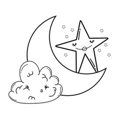 Clouds and moon cute cartoons in black and white vector