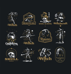Collection vintage emblems on occult theme vector
