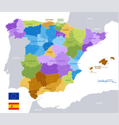 colorful administrative map spain vector image