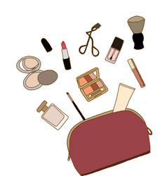 Cosmetic bag with a make-up accessories vector image