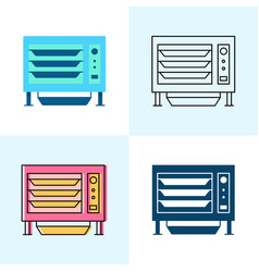countertop steamer icon set in flat and line vector image
