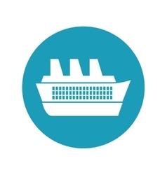 Cruise ship travel maritime blue circle vector