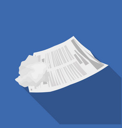 Crumpled paper icon in flate style isolated on vector