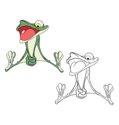 Cute green frog cartoon character vector
