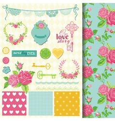 design elements - floral shabchic theme vector image