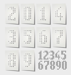 Dotted numbers punched on white paper vector