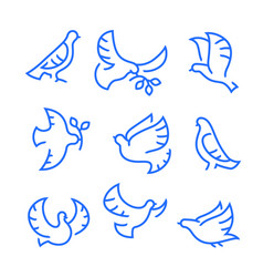 dove peace icons set flying birds with branch vector image