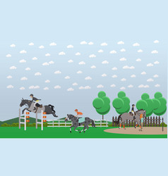 Equestrian show jumping flat vector