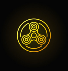 fidget spinner in circle yellow icon vector image