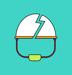 Flat icon design collection broken military helmet vector