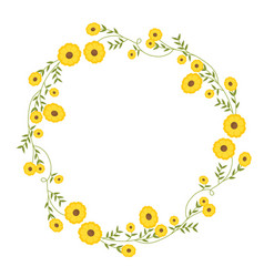 Floral circular wreath decoration with yellow vector