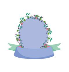 flowers floral label decoration ornament icon vector image