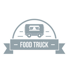 Food truck logo simple gray style vector