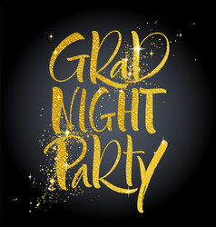 grad night party hand lettering vector image
