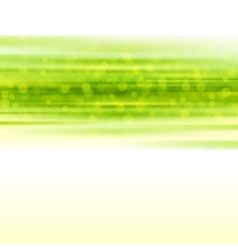 Green smooth light lines with lens effect vector image vector image