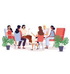 group therapy session with diverse women vector image