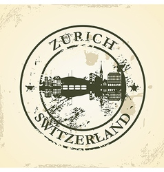 Grunge rubber stamp with Zurich Switzerland vector image