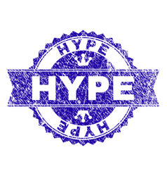 Grunge textured hype stamp seal with ribbon vector