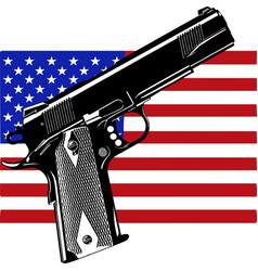 Gun on usa flag - focus on - weapons problem vector