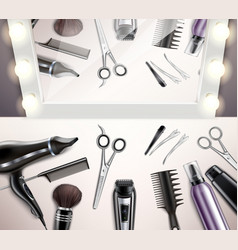 Hairdress tools top view vector