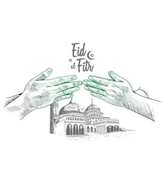 Hand forgive and mosque drawing isolated vector