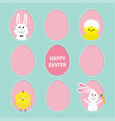 Happy easter text painted egg frame set bunny vector